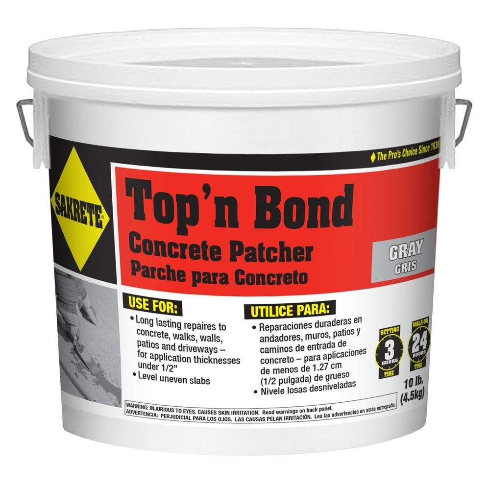 Sakrete 10 Lb Top N Bond Concrete Patcher 65455001 The Home Depot Fix Cracked Concrete Concrete Repair