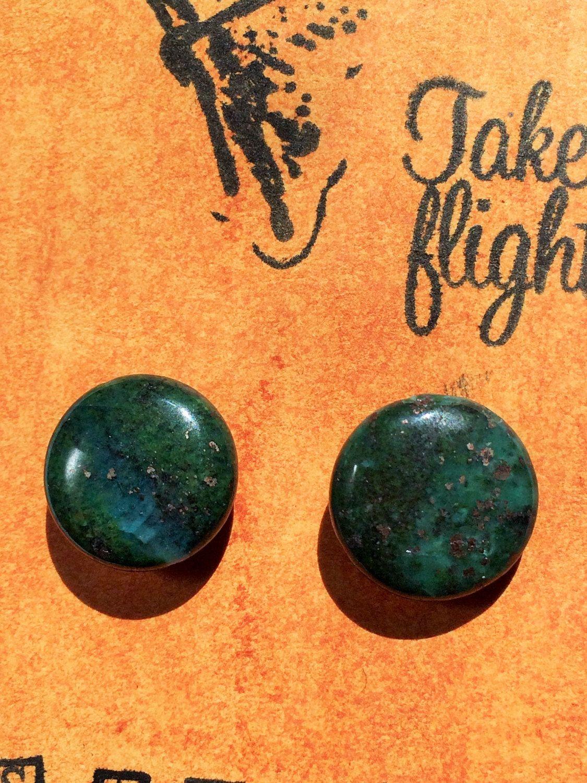 Blue & Green Lapis Lazuli with Pyrite Veins Stud Earrings! Hypoallergenic Silver Tone Backings TAKE FLIGHT by TakeFlightStudioWA on Etsy