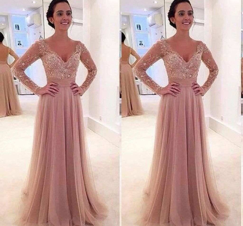 Free shipping long sleeves lace prom dressdeep vneck graduation
