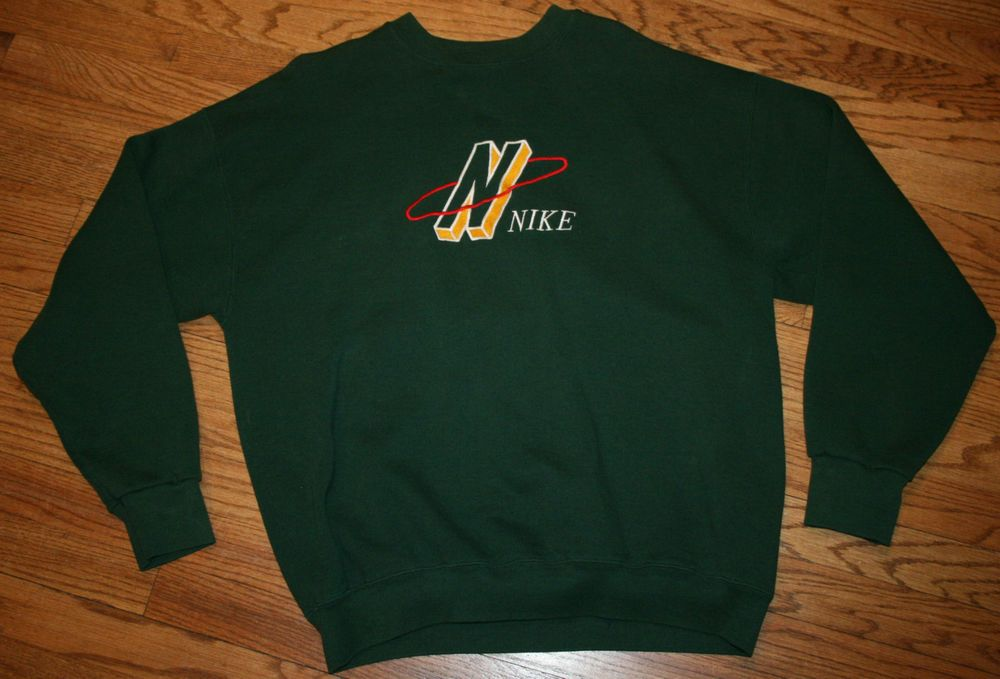 Vintage NIKE green Sweatshirt Shirt Men s XL embroidered sewn old school  rare  Nike  SweatshirtCrew 7a53ea03f