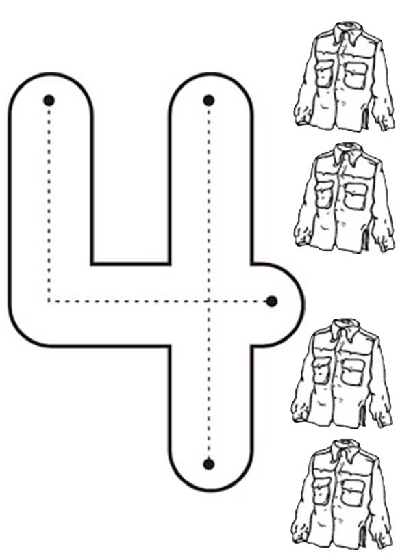 Learn Number 4 With Four Jackets Coloring Page Bulk Color Preschool Coloring Pages Kindergarten Math Worksheets Free Alphabet Letter Activities