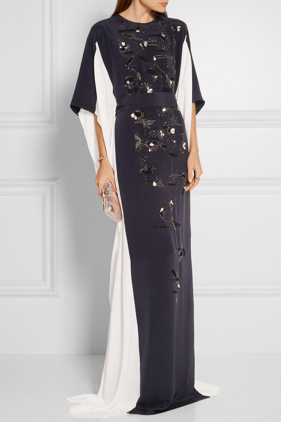 Oscar de la renta embellished silk crepe de chine gown fashion oscar de la renta embellished silk crepe de chine gown ombrellifo Image collections