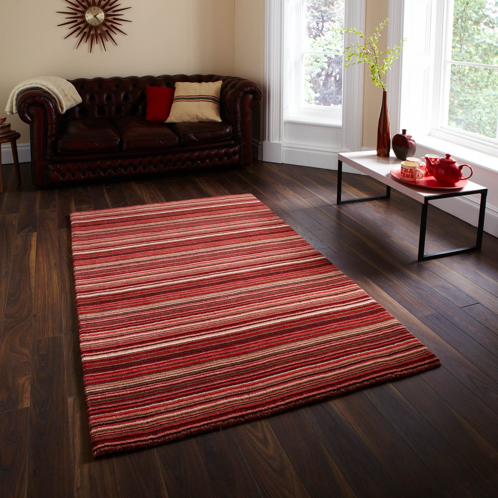 The Rug Oxford Stripes Red Beige In Mainly Tones This Is Beautiful Stripey Hand Knotted