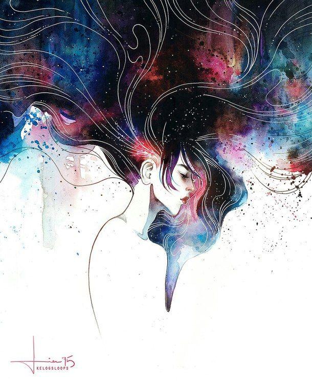 draw galaxy girl hair beautiful illustrations
