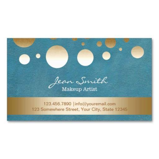Modern Teal Gold Confetti Dots Makeup Artist Business Card Templates