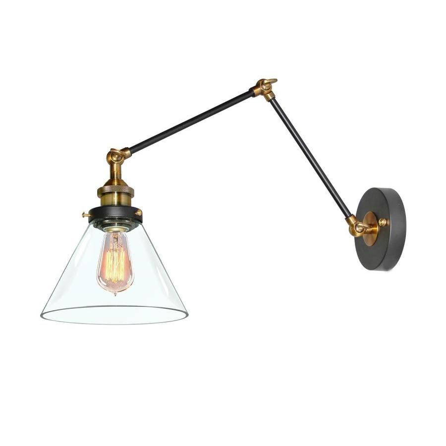 Lnc 9 1 In H On Off Switch Black Swing Arm Modern Glass Shade Lowes Com Plug In Wall Lamp Modern Glass Shades Modern Glass