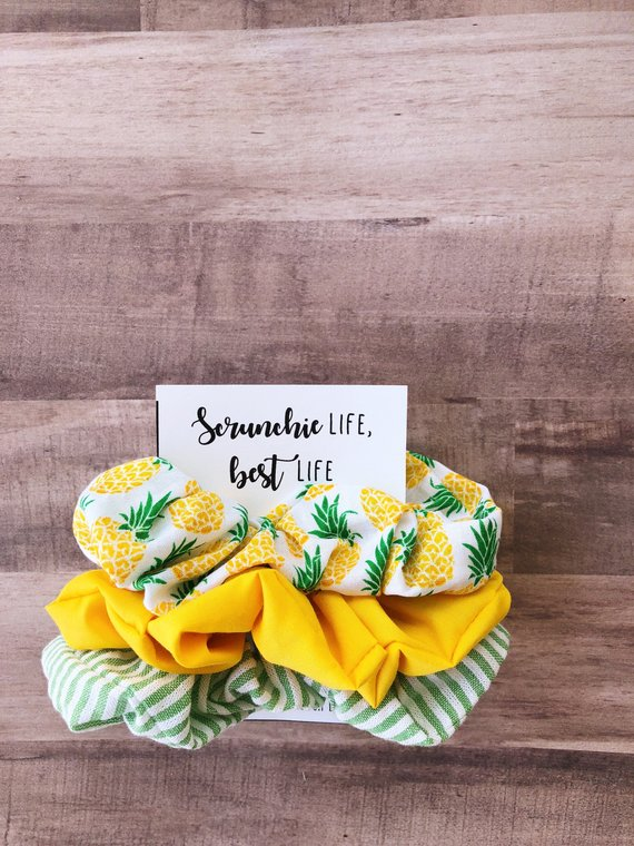 Pineapple and Seersucker Scrunchie Pack - Lilly - Southern - Tropical - Dole Whip - Scrunchies - Hair Ties - Pony Tail Holder - 90s Fashion