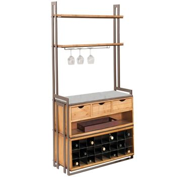 Deluxe Wentworth Bakers Rack With Drawers And Wine Rack Wine