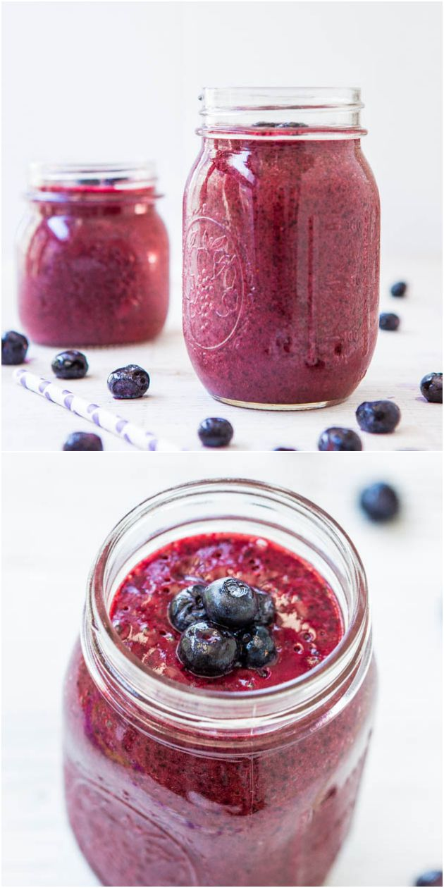 Blueberry Pie Smoothie (vegan, GF) - A healthy, no-sugar-added smoothie that tastes like a blueberry pie! So good!