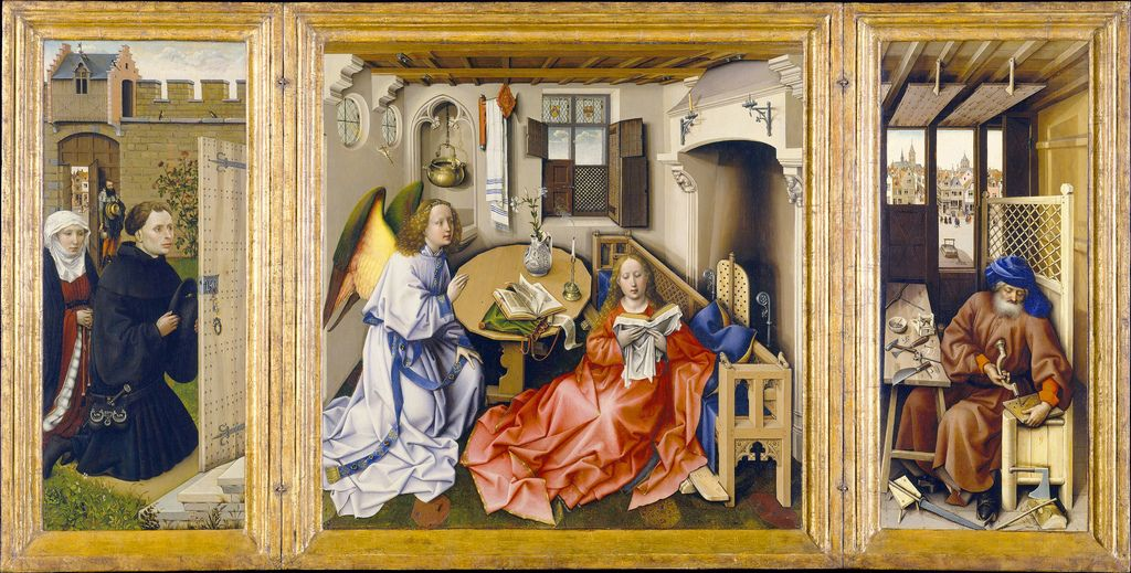 The Merode Altar Piece - Robert Campin (MASTER OF FLEMALLE) - 1425... triptych, marian symbolism: virginity/purity of Mary when Christ conceived, Christ as 'Satans Mousetrap': renders Satan powerless