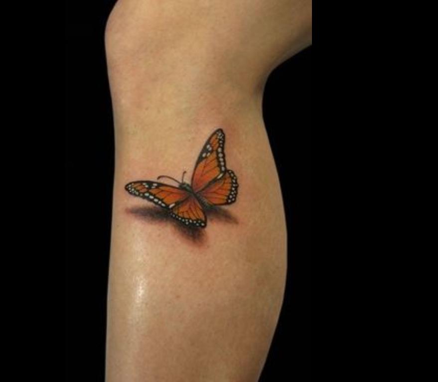 3D butterfly tattoos Butterfly 3D Tattoo On Leg
