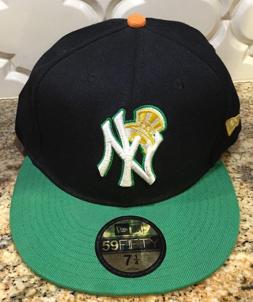 de6701900d35a New York Yankees New Era 59Fifty Orange Green Black Baseball Hat Cap 7.25 7  1 4