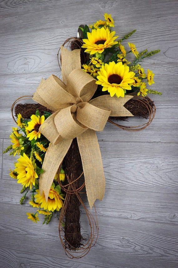Photo of Cross wreath, Everyday Wreath, Grapevine Cross, Sunflower Wreath,Summer Wreath,Farmhouse Wreath,Front Door Wreath
