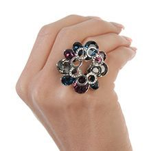 """Colorful Backdrop"" $159.95- Get in the groove with the shimmer and shine of the vivacious colors of Swarovski crystal set in this glorious ring.  Sizes 6-12 Nickel, lead and cadmium free www.fifthavenuecollection.com/cnastopoulos"