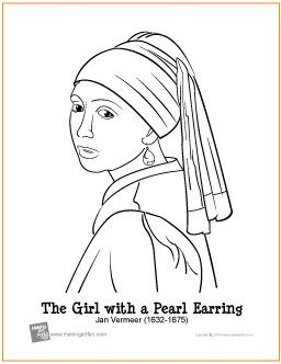 masterpiece coloring page girl with a pearl earring by jan vermeer free coloring page art masterpiece coloring pages