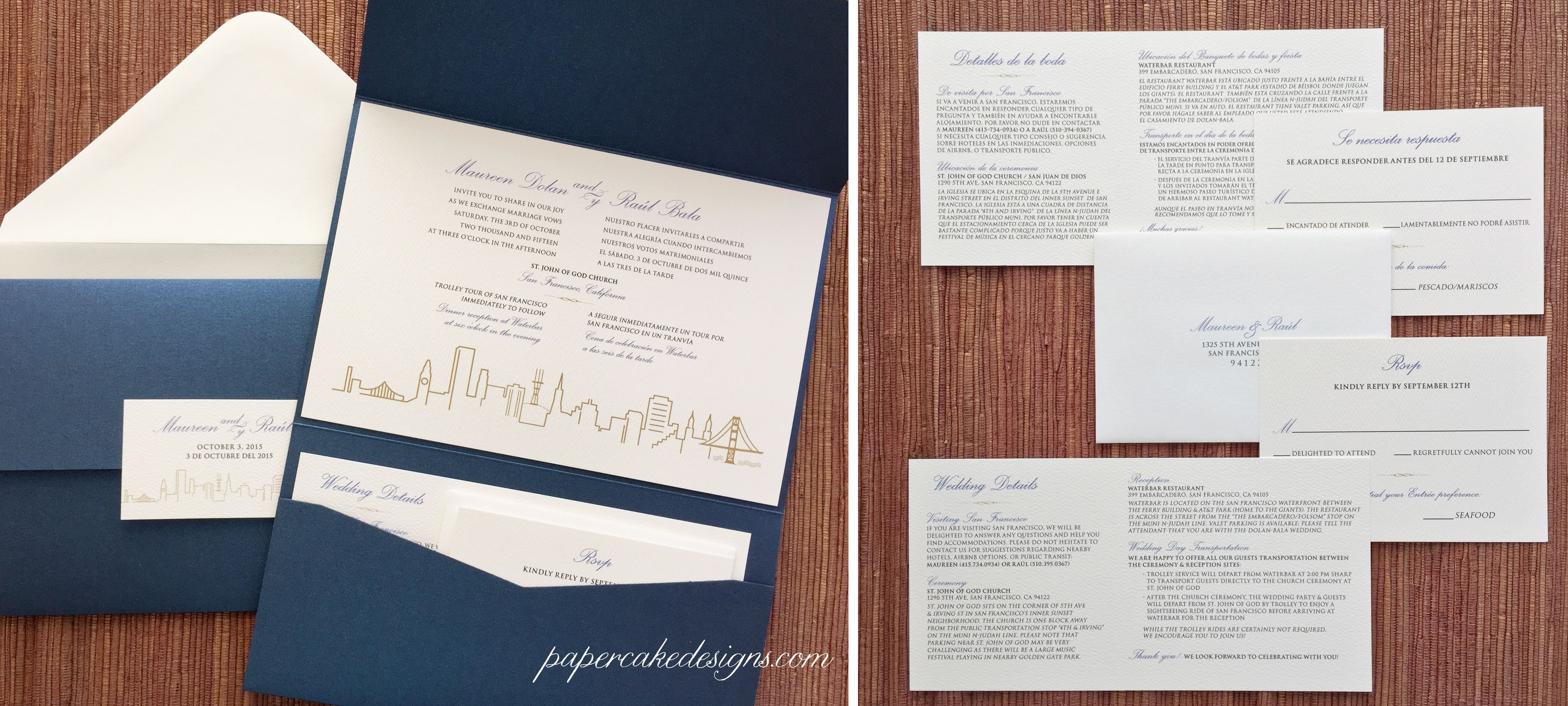 All cards on one card - Bilingual Pocket Folder Wedding Invitation Suite Custom Eng Sp All In One