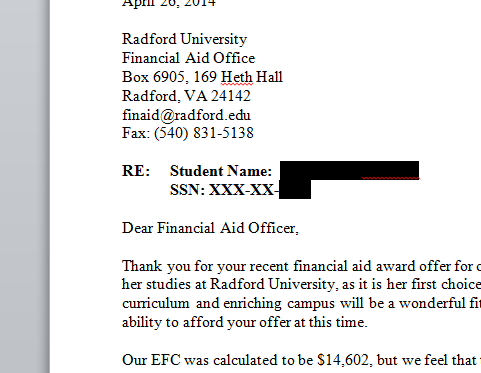 How To Create A Financial Aid Appeal Letter  Further Education