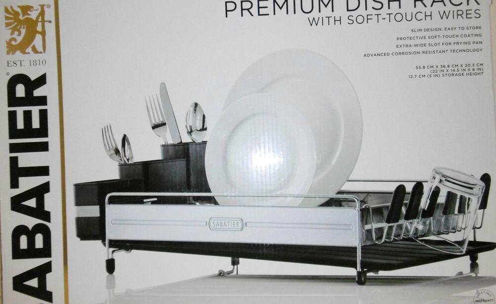Sabatier Premium Dish Rack W Soft Touch Wires 3 Caddies Soft
