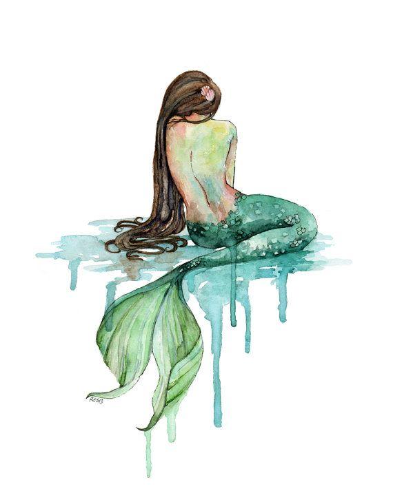 "Watercolor Mermaid Print - Painting titled, ""The Mermaid"", Beach Decor, Mermaid Tail, Mermaid Print, Mermaid Wall Art, Emerald Green, Ocean"