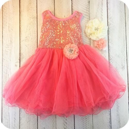 Ava's Coral Dress, Girl Dress, Flower girl dress ideas, wedding ideas, girl boutique clothing, birthday party ideas, birthday toddler dress.  Perfect for s