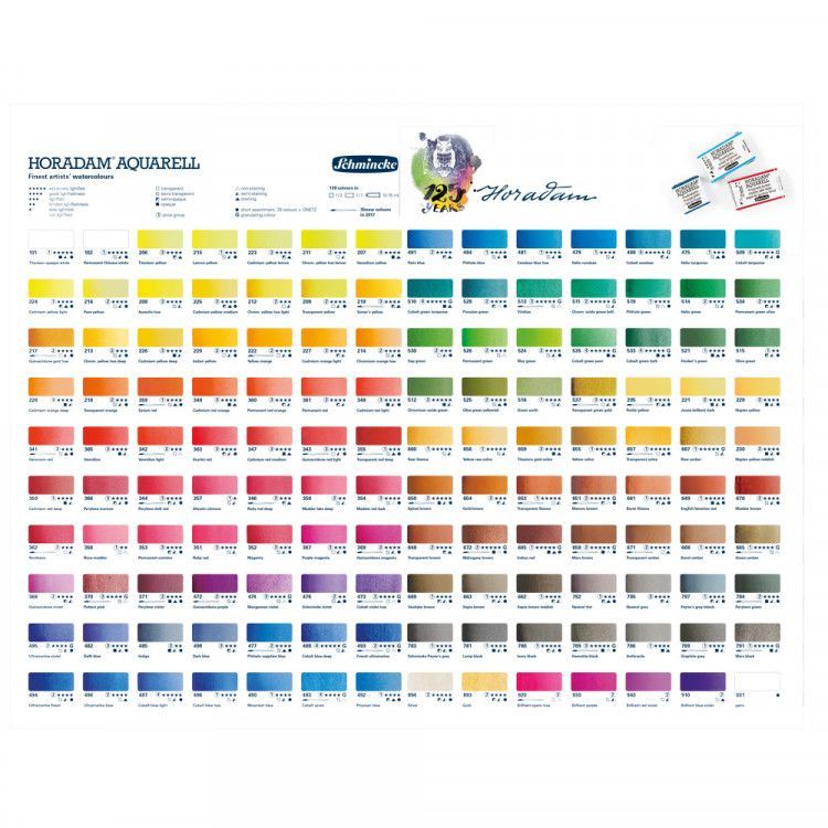 Schmincke Horadam Watercolour Printed Colour Chart Aquarell