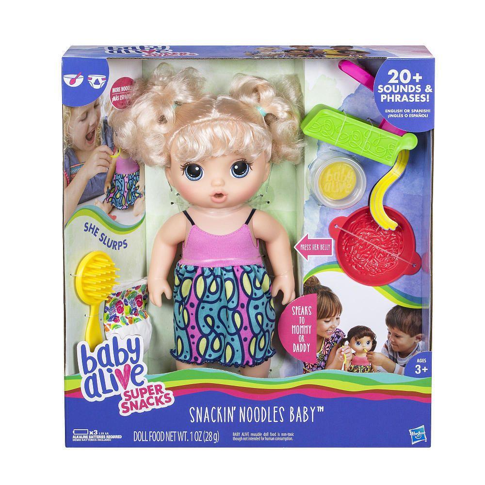 Baby Alive Super Snacks Snackin Noodles Baby Doll Blonde Talks English Spanish Hasbrobabyalive Dollswithclothingacce Baby Alive Baby Alive Dolls Baby Dolls