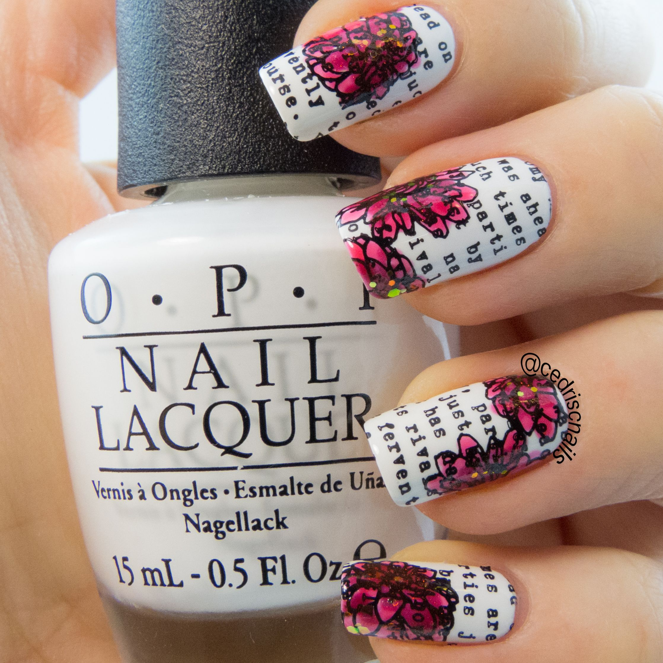 Paper nail art. Polish is OPI Alpine snow, stamped with Messy ...