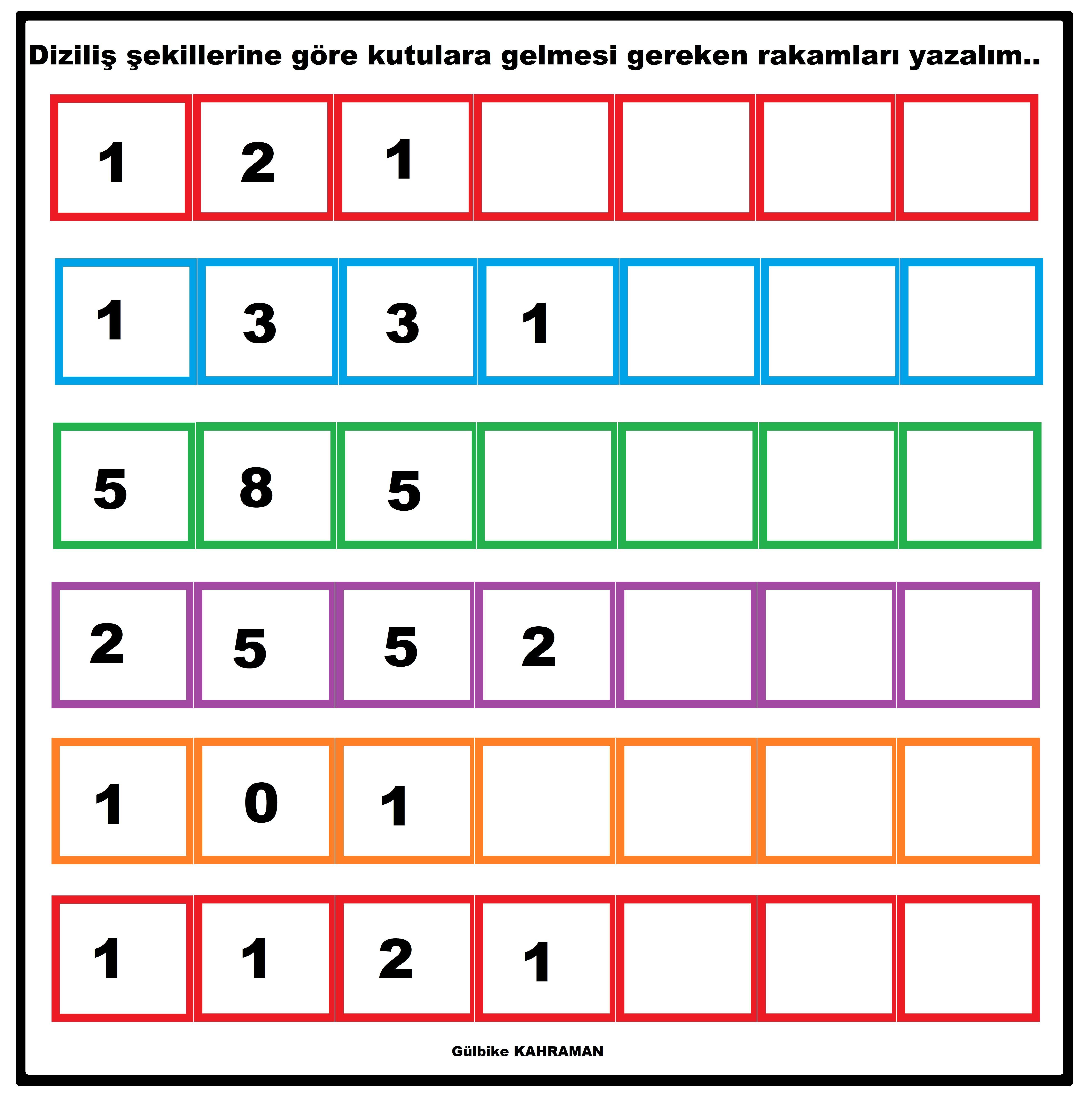 Okul Oncesi Oruntu Calismasi Egitim Faaliyetleri Matematik
