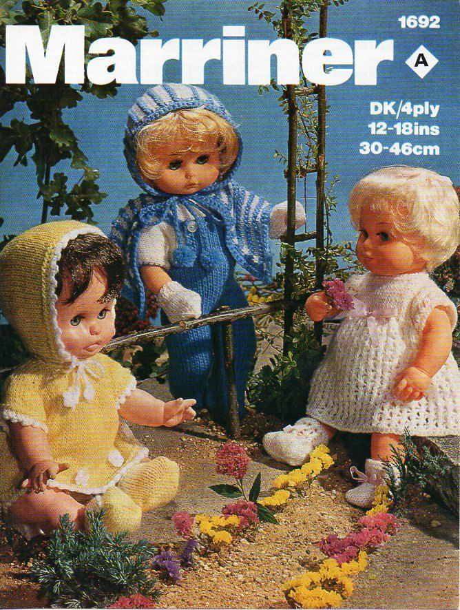 Baby Doll Knitting Pattern Pdf Dolls Clothes Outfits Dress Cape