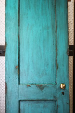 Old Door Painted Door Tourquoise Distressed Dressy