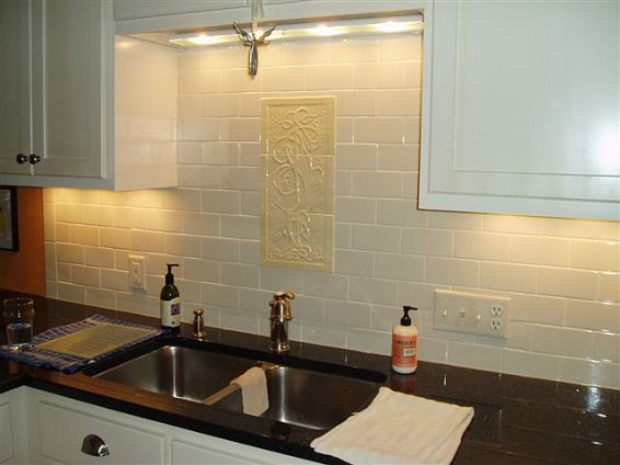 pictures of white subway tile backsplash | Backsplashes | Subway ceramic  tile backsplash with Celtic Tree - Pictures Of White Subway Tile Backsplash Backsplashes Subway