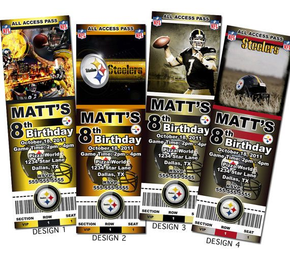 Party Ticket Invitations Pittsburgh Steelers Nfl Custom Party Ticket Invitations  Birthday .