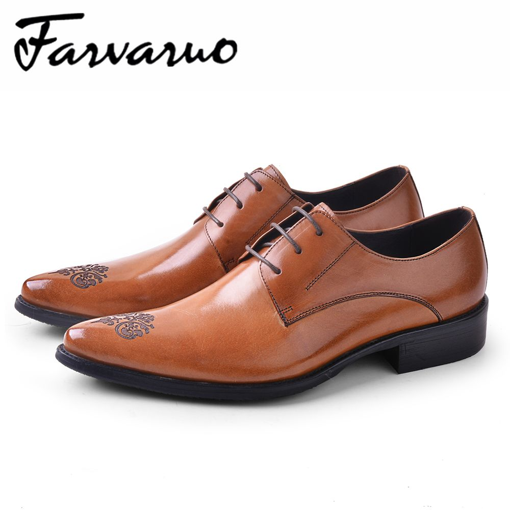 Farvarwo Italian Lace Formal Shoes Men Genuine Leather Designer Wedding  Party Mens Oxfrod Dress Shoes Pointed Flat Brogues Black 8d1793102760