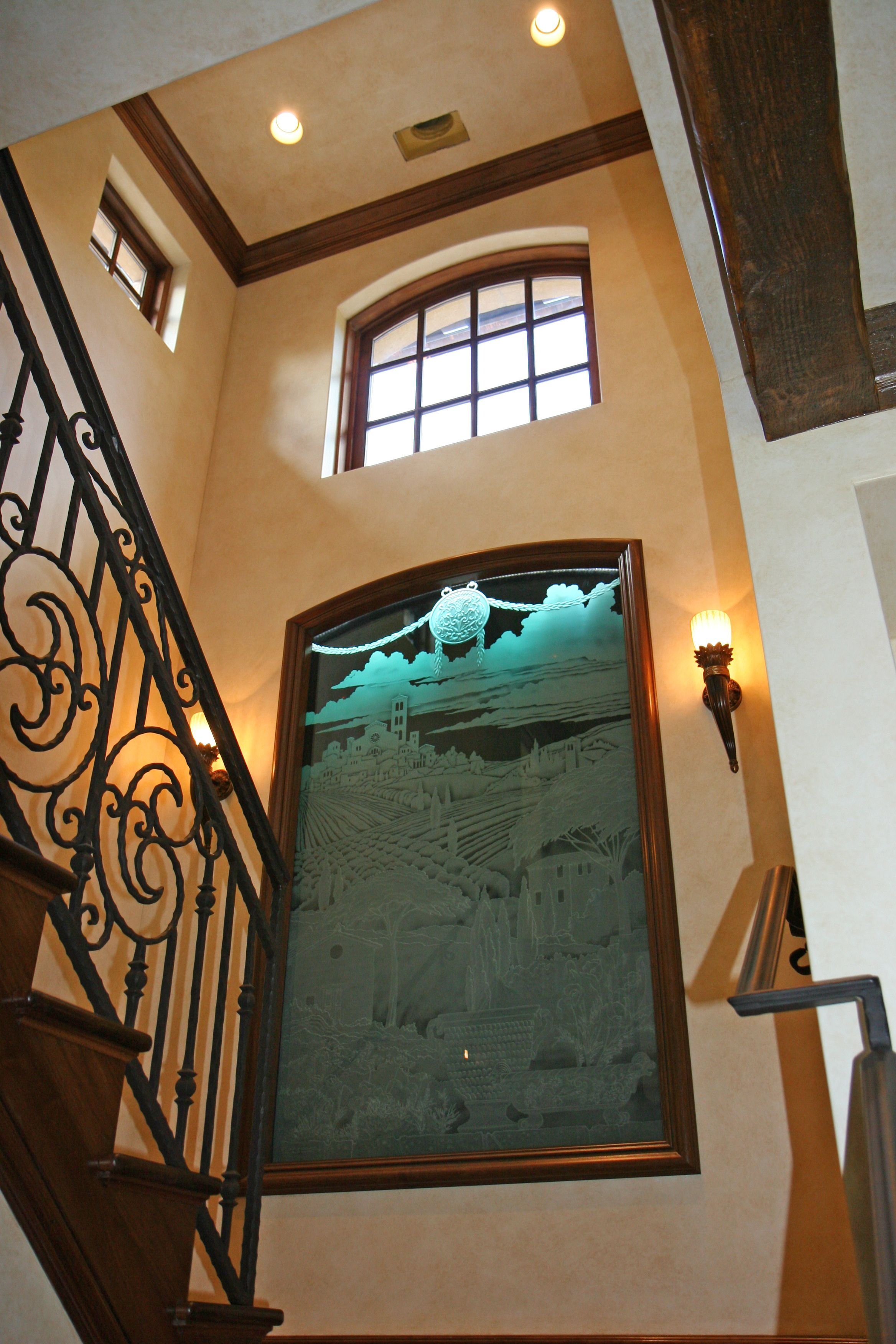 Best Staircase With Etched Glass Artwork Glass Etching Staircase 400 x 300