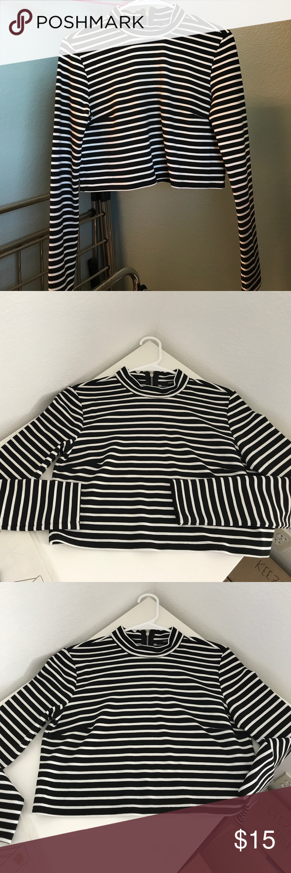 Crop stripe long sleeve Cute crop boxy long sleeve. Can dress it up or dress it down. Never worn. Forever 21 Tops Crop Tops