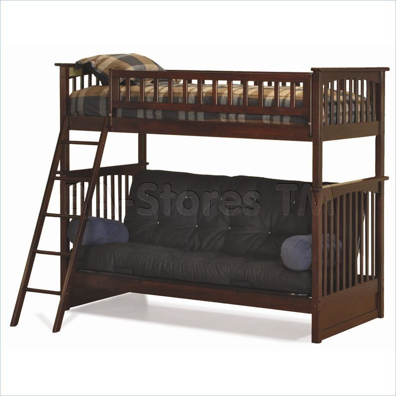Beautiful Bunk Bed Twin over Futon Loft Bunkbed and Fold Down Sofa Solid Wood in Home & Garden Kids & Teens at Home Furniture Bedroom Furniture Unique - solid bunk beds Pictures