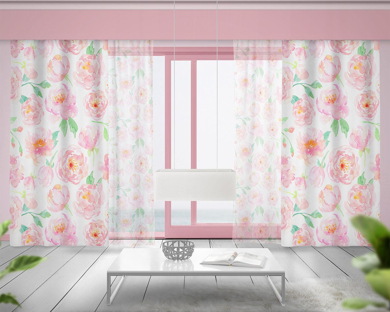 Watercolor Pink Peony Floral Nursery Window Curtains Nursery