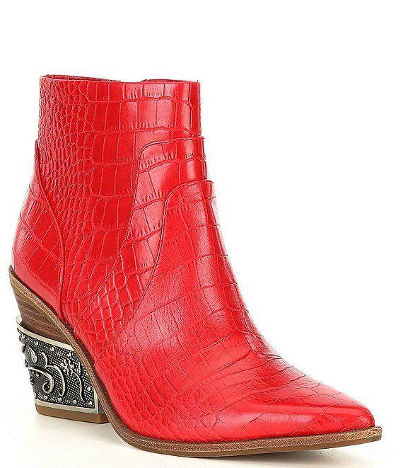 Gianni Bini Eviee Luxury Croc Embossed Pointed Toe Metal-Heel Western Booties | Dillard's