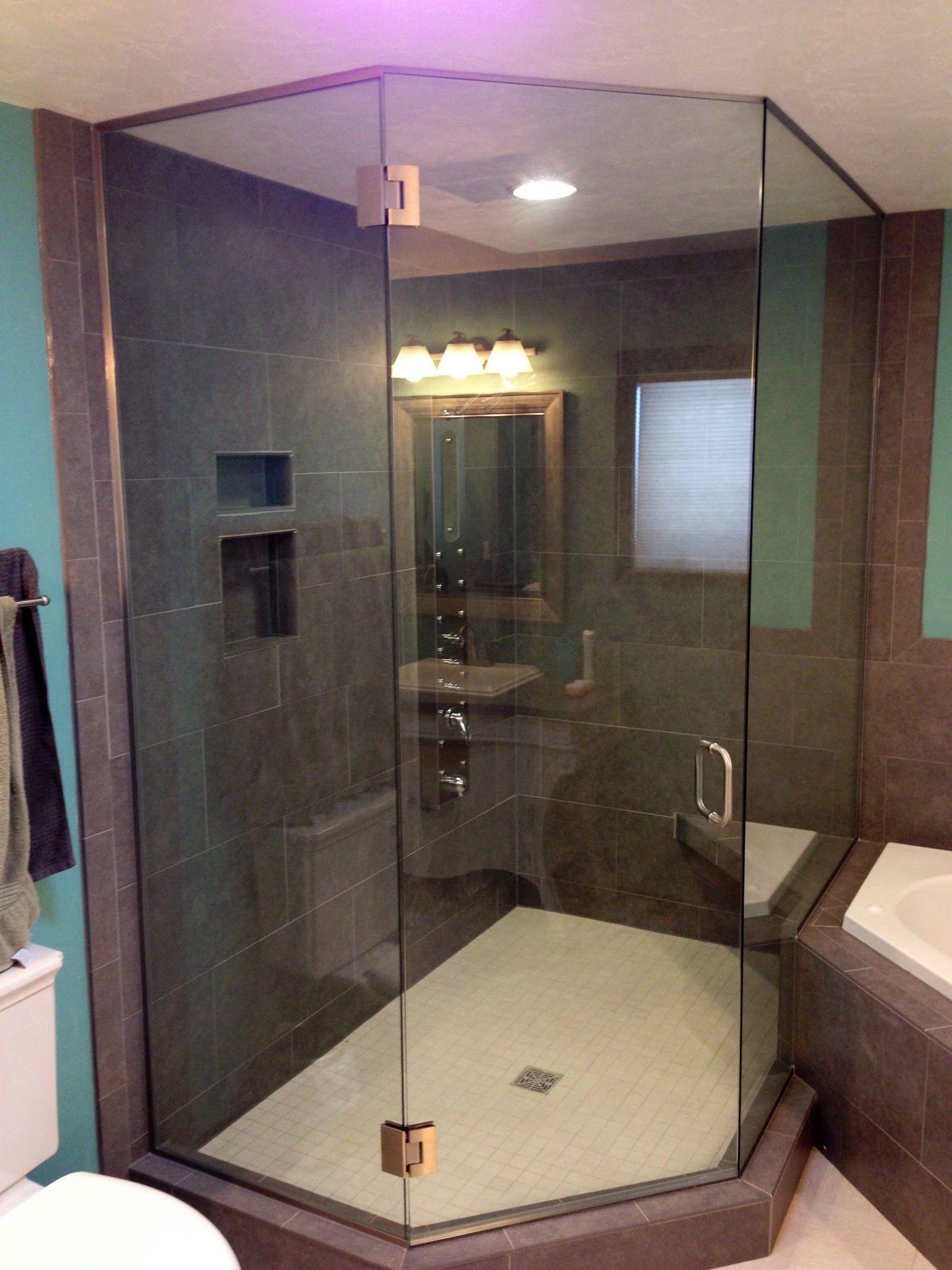 Custom Heavy Glass Neo Angle Shower Enclosure Shower