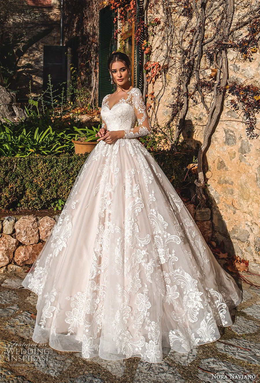 065b9aaa37 nora naviano 2019 bridal long sleeves sweetheart neckline full embellishment  princess romantic ball gown a line wedding dress sheer button back royal  train ...