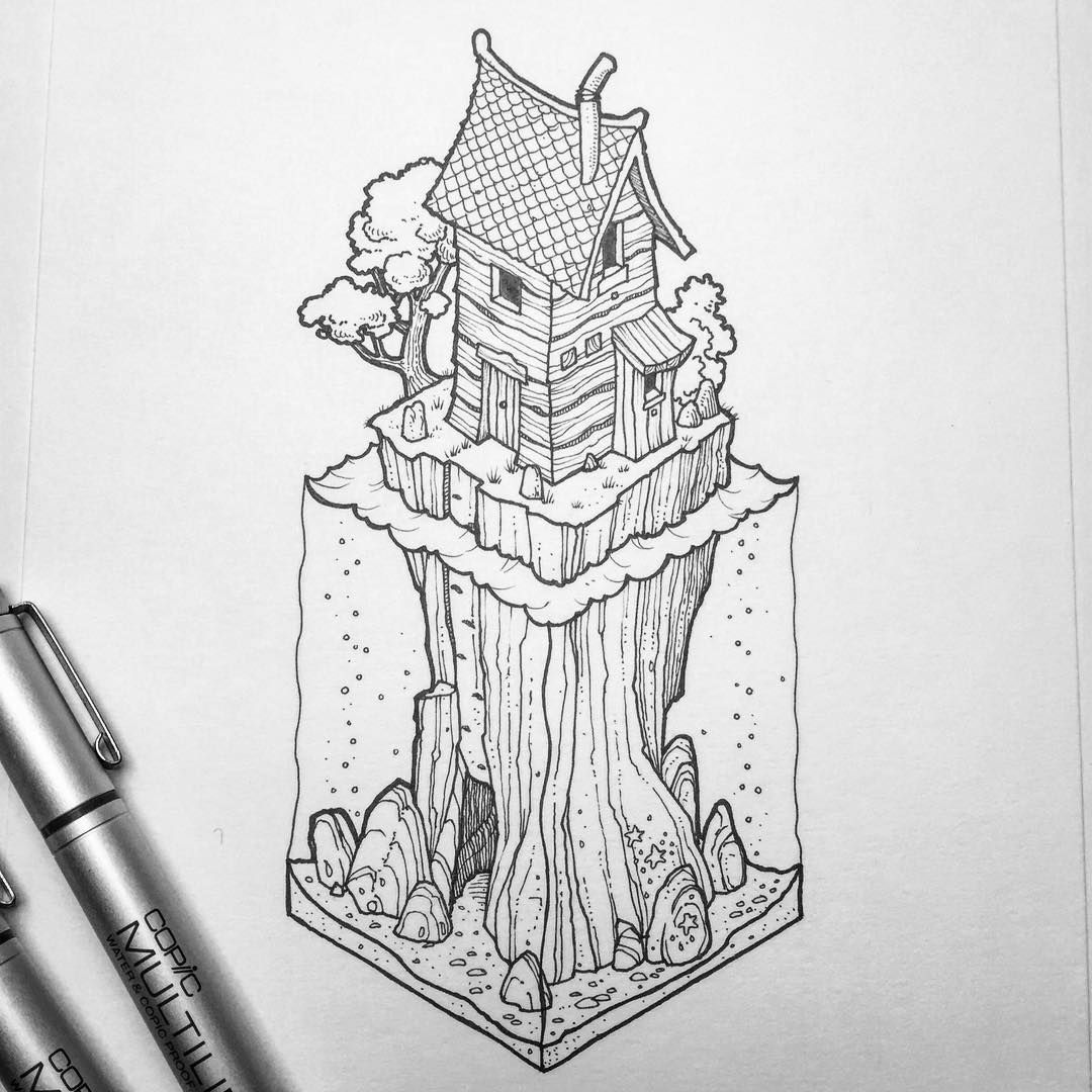 Inktober No 15 Edit Sold For Sale 31 The Fifteenth Of My Isometric Inktober Illustrations