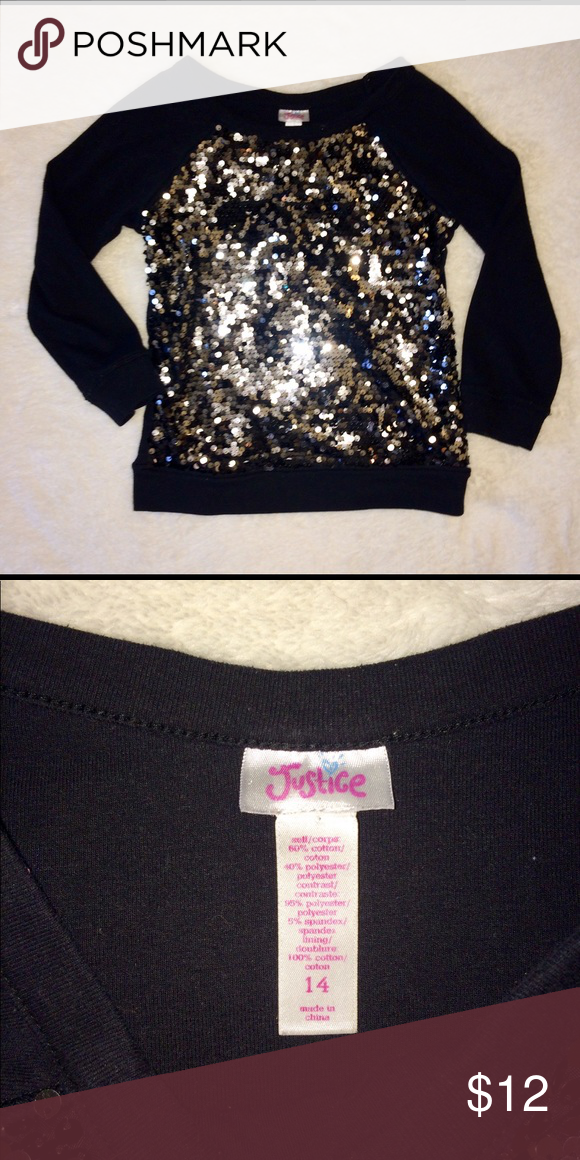 2cc34f7a5c63a Girls Justice Sequin Top Justice Size 14 fits like a 12 Black with black  and silver sequins 3 4 sleeves Great condition Fast shipping Justice Shirts    Tops