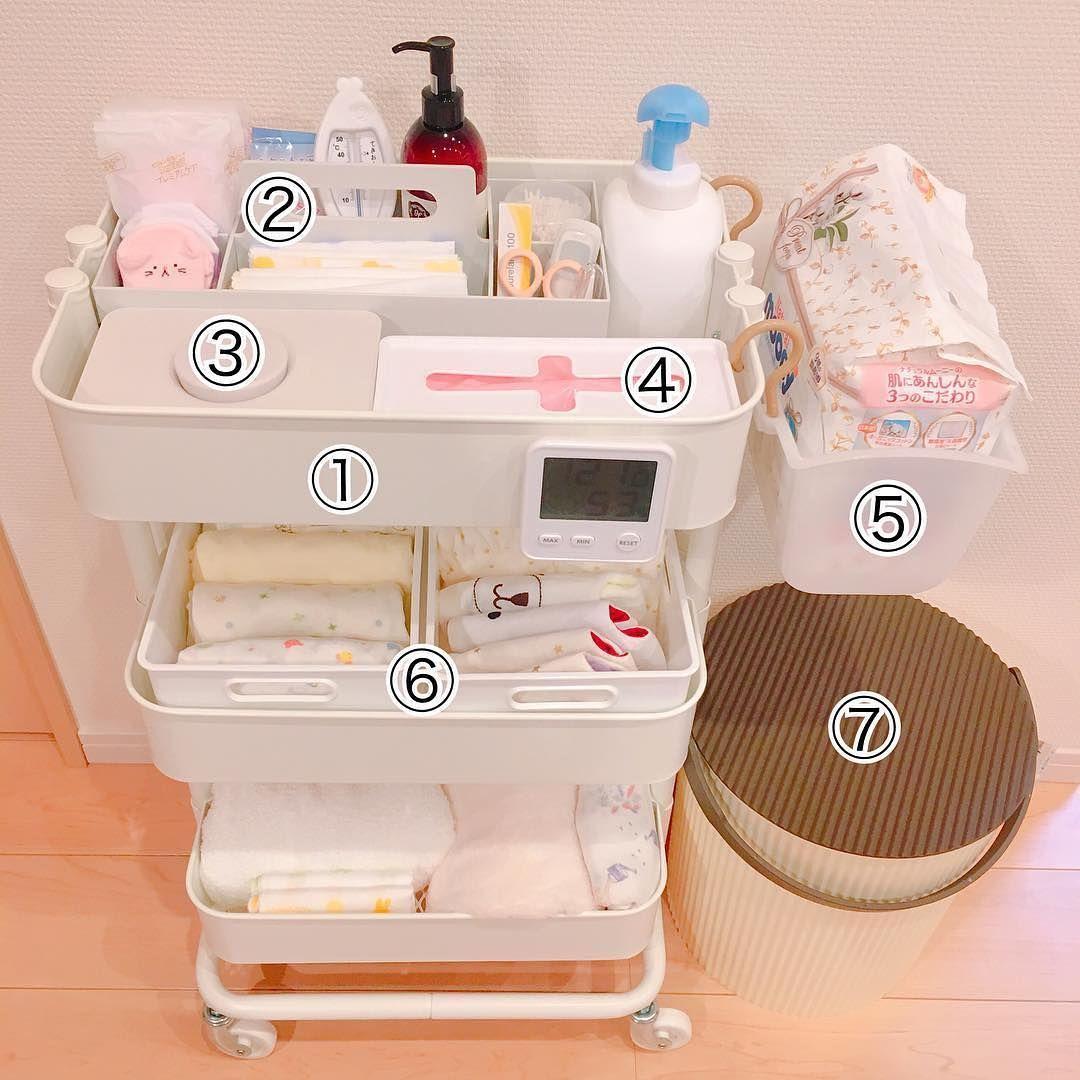 Mamari Official ママリ ベビーワゴン 完成しました ママリ 出産準備 Ikea ロースコグ ベビー用品 収納 赤ちゃん 収納 赤ちゃん用品