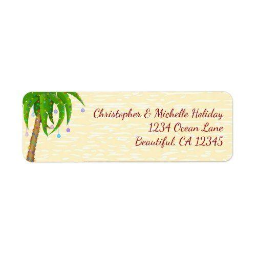 Decorated Palm Tree Christmas Beach Address Label Christmas