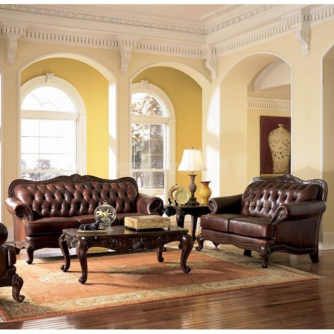 Victorian Leather Living Room Furniture: Victoria Leather Living Room Set