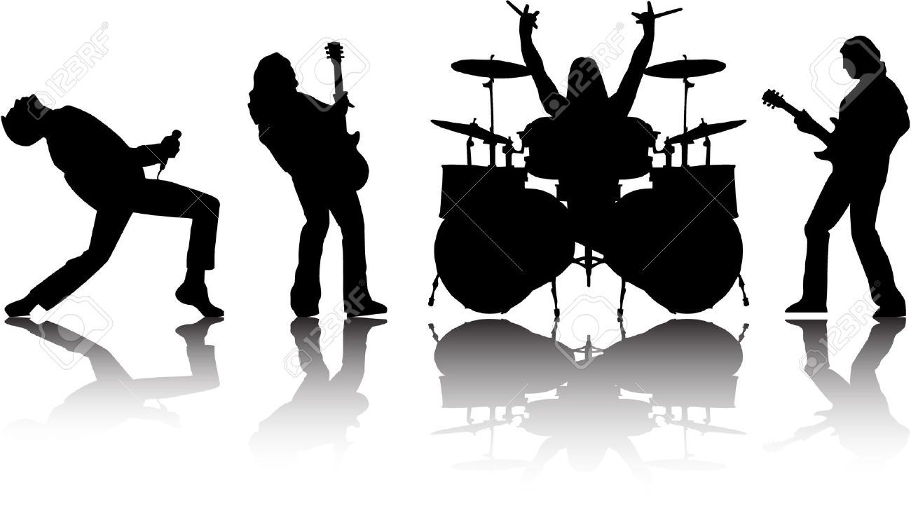 Top Logo Design band logo ideas : 4550577-the-vector-musicans-silhouettes-set-8-Stock-Vector ...