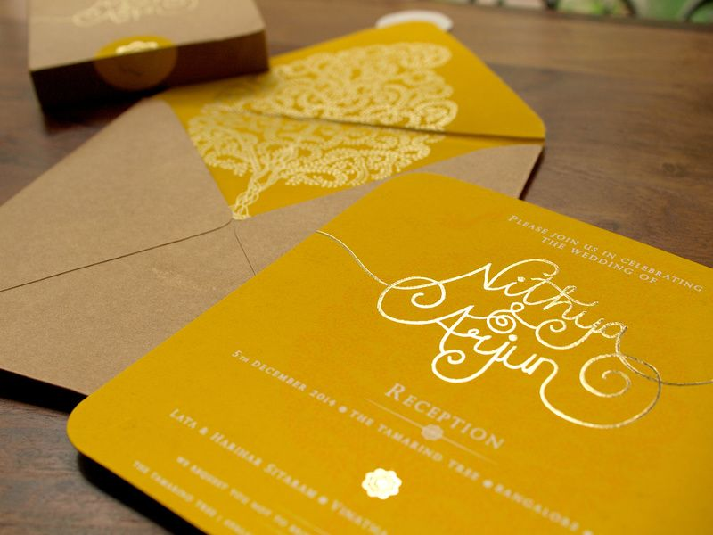 Yellow And Brown Invitation Card With Tree Of Life Motif Indian