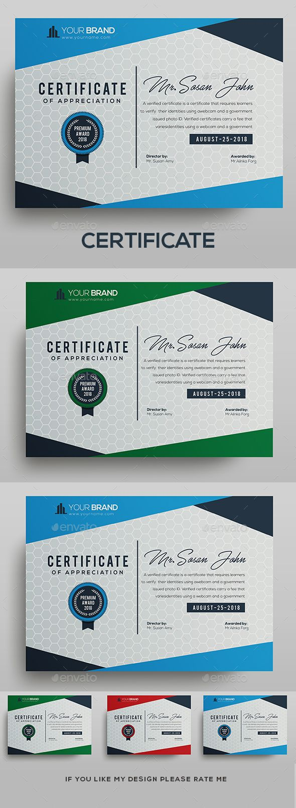 Certificate Template Fully Clean Certificate?A4 Paper Size With BleedsQuick and ...