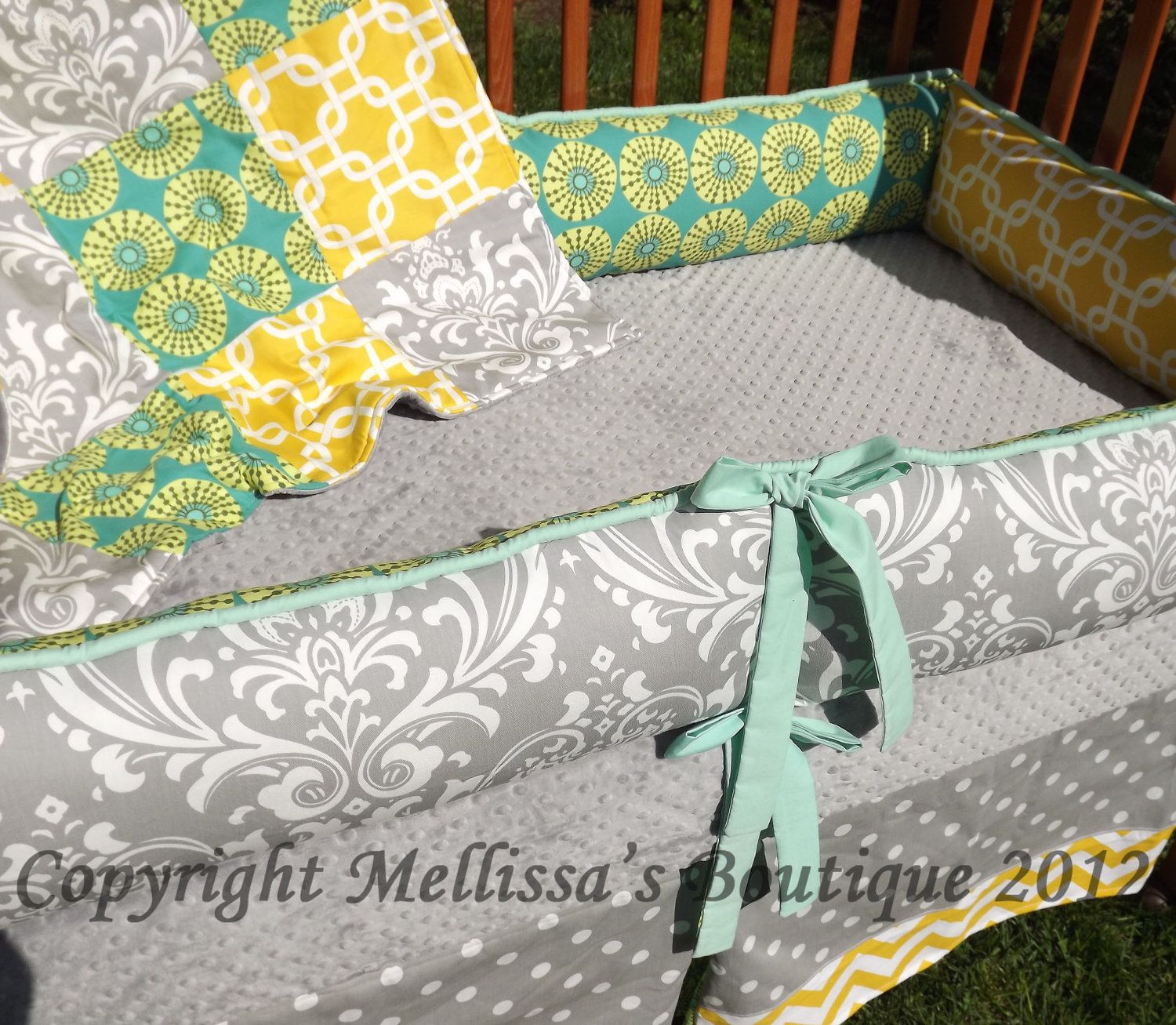 Custom Grey with Teal and Yellow Accent Baby by mellissasboutique, $64.99