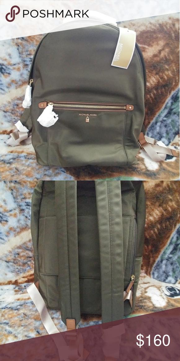 48fd48efa00f Authentic Michael knots backpack Michael kors Olive Nylon Kelsey Large  Backpack. Padded straps provide all
